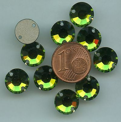 3204 10 O *** 2 pierres à coudre Swarovski 10mm OLIVINE