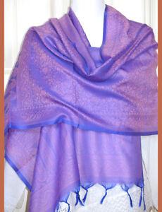 Banaras-Silk-Violet-Color-Woven-Paisley-Floral-Design-Shawl-Wrap-Stole