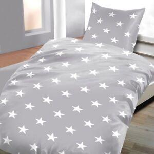Linge-de-lit-gris-avec-etoiles-135-x-200-cm-80-x-80-cm-100-coton