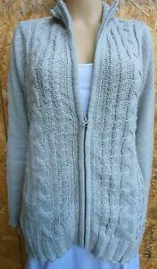 Women`s Ex Debenhams Cable Knit Cardigan Uk Size 12 Zip Jumper Bnwt Aesthetic Appearance