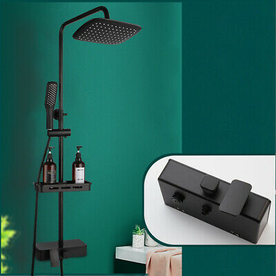 MTYLX Water-Tap Bath Shower Systems Matte Black Shower Faucet Bathroom Shower Mixer Tap with Shelf 8 Rainfall Shower Mixer System with Sliding Bar Swivel Tub Spout