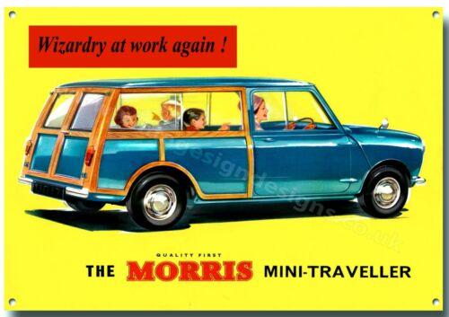 MORRIS MINI TRAVELLER metallo segno Garage retrò auto inglesi classiche