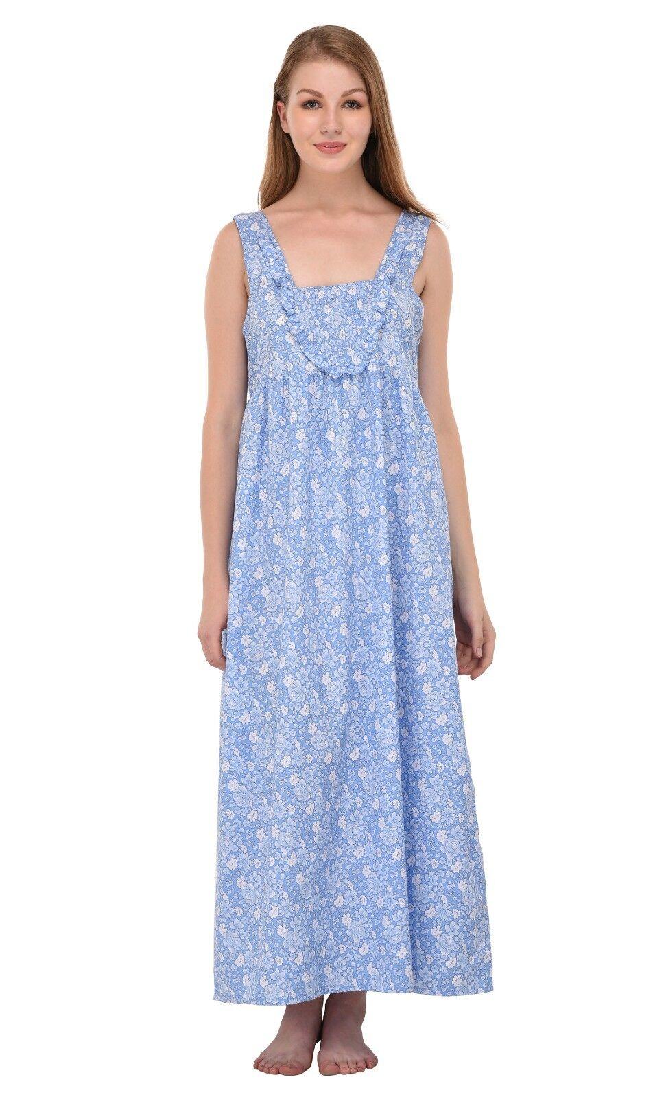 Pure Cotton Printed Sleeveless Nightdress   Cotton Lane
