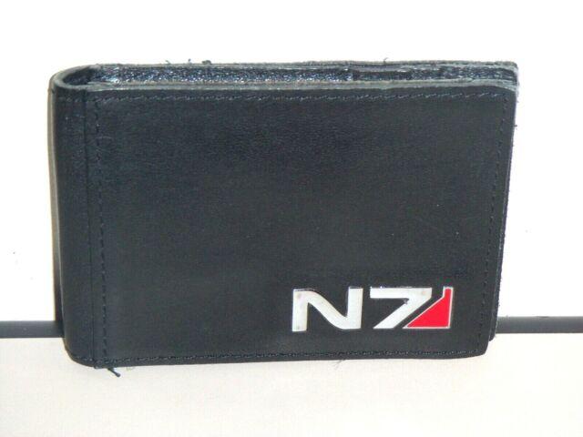 MASS EFFECT N7 LOGO Men/'s Wallet Black Leather Custom Money /& Card Holder