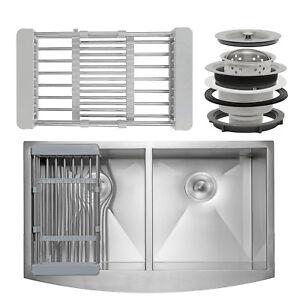 33-034-x-22-034-x-9-034-Apron-Farmhouse-Handmade-Stainless-Steel-Double-Bowl-Kitchen-Sink