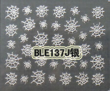 Halloween Silver Spiders Webs 3D Nail Art Stickers Decals Decorations