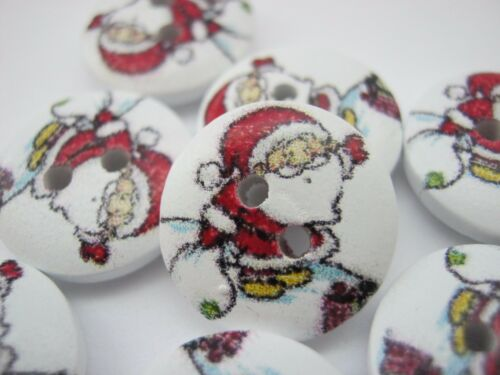 "5//8/"" 10 Father Christmas Buttons 15mm Santa Buttons Xmas Sewing Knitting Craft"