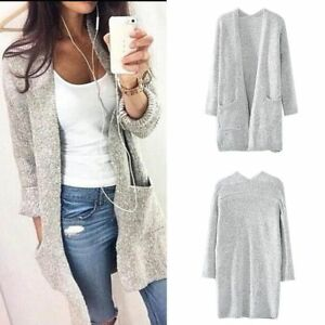 f7e2dbd2d7d946 Women Fashion Autumn Winter Loose Long-sleeved Knit Cardigan Sweater ...