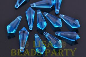 New-10pcs-20x8mm-Chandelier-Faceted-Crystal-Glass-Pendant-Loose-Beads-Lake-Blue