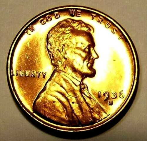 """UNCIRCULATED 1936 S Lincoln Wheat cent/""""GOLDEN BRIGHT/""""CHOICE BU//RD/""""s FREE S/&H"""