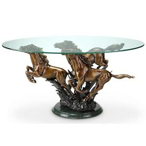 Image Is Loading Galloping Horse Trio Coffee Table Stallion Western  Equestrian