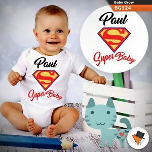 cf3c6bc41 PERSONALISED SUPER BABY SUPERMAN MARVEL BABYGROW BABY GROW ALL SIZES ...