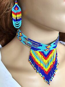BLUE-MULTI-COLOR-BEADED-NATIVE-STYLE-INSPIRED-CHOKER-NECKLACE-N55-2