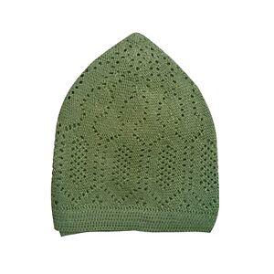 6542bdf13f0d2 Details about Olive Green Cotton Open-Knit Turkish Muslim Islamic Kufi Hat  Taqiya Takke Cap