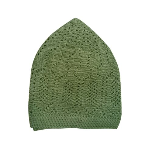 Olive Green Cotton Open-Knit Turkish Muslim Islamic Kufi Hat Taqiya Takke Cap