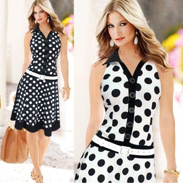 Hot Women Fashion Polka Dot Office-lady Sleeveless V-neck Print One-piece Dress