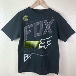 Fox-Men-039-s-Medium-Black-Yellow-White-Motorcross-100-Cotton-Short-Sleeve-T-Shirt