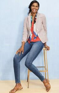 Talbots-Women-s-Patchwork-Striped-Blazer-Size-12-Seersucker-Jacket-Cotton-D1