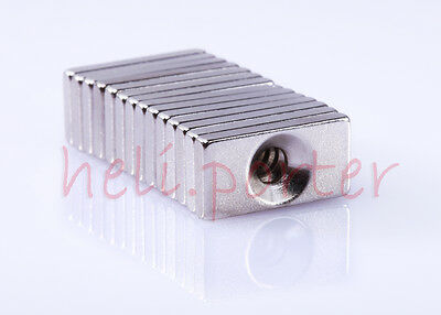 20 x 10 x 3mm:4mm Hole Block Earth Neodymium Super strong Magnet N35 Craft Model