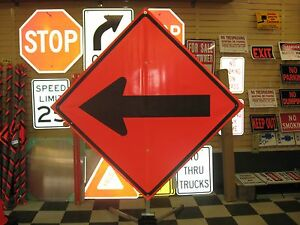 """Direction Arrow Fluorescent Vinyl With Ribs Road Sign 48"""" X 48"""""""