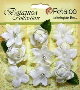 VINTAGE-VELVET-Mini-WHITE-Blossoms-x-9-Fabric-Flowers-25-30mm-Petaloo-C3