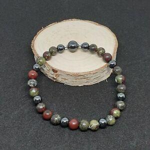 Dragons Blood Jasper & Hematite Stretch Bracelet Gemstone Crystal Chakra Healing