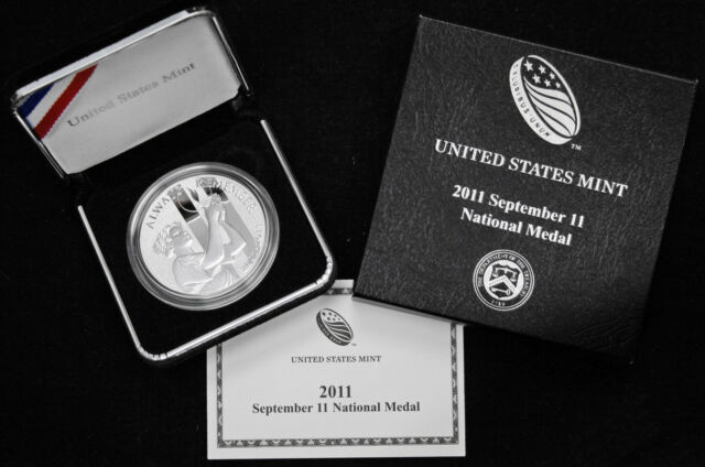 2011 SEPTEMBER 11 National SILVER Medal 9-11 US Mint PROOF w// Box /& COA