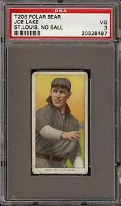 Rare 1909-11 T206 Joe Lake No Ball Polar Bear St Louis PSA 3 VG
