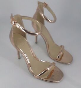 9e6b96a019 Image is loading Missguided-Rose-Gold-Rounded-Strap-Barely-There-Sandals-