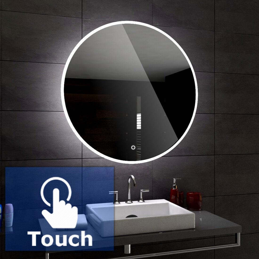 Delhi Rond éclairé del Miroir salle de bain Led 50 60cm diamètre +