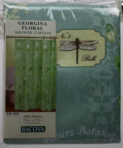 Bacova Georgina Floral Sage Butterfly Dragonfly Fabric Shower Curtain 70x72 NWT