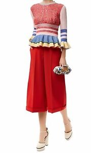 Alexander Mcqueen NEW Ribbed Pink Red Blue Yellow Knit Ruffle Peplum Pullover M