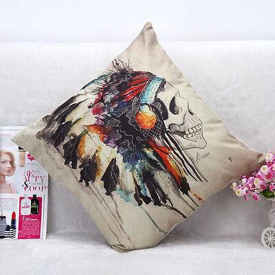 Halloween Skull Cotton Linen Throw Pillow Case Cushion Cover Sofa Home Decor