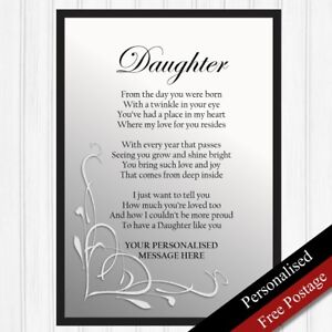 Image Is Loading Daughter Gift Personalised Birthday For Keepsake