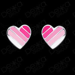 925-Sterling-Silver-Pink-White-Heart-Earrings-Studs-Love-Girls-Women-Stripe