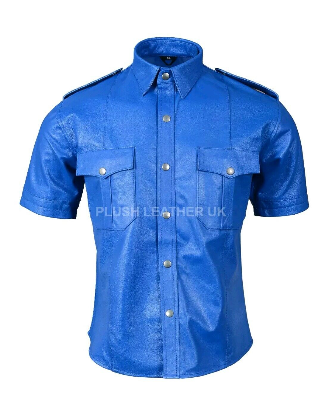 Mens Very Hot Real Sheep Leather in Full bluee  Police Uniform Shirt bluef Gay