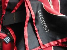 VALENTINO SCARF NEW WITH TAGS.SILK 90 x 90 M/M BLACK RED SQUARE.ROLLED EDGES