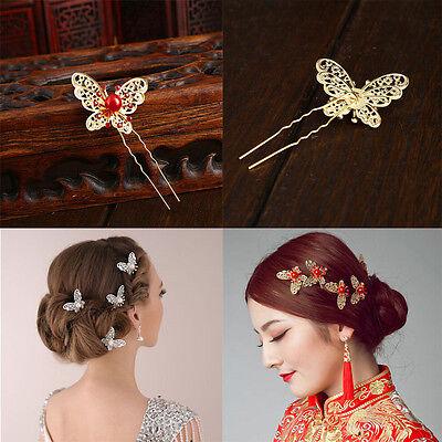 3 Pcs Bride Butterfly Hair Pin Wedding Dress Costume Headdress Shaped Hairpin b