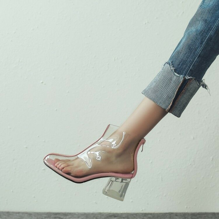 Trendy Transparent Clear Block Heel Back Zip Ankle Boots Womens Womens Womens shoes 72545f