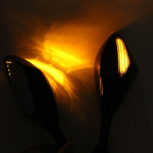 Motorcycle Mirrors LED Turn Signals For Kawasaki ZX10R 2004-2007 Z750S 2005-2006