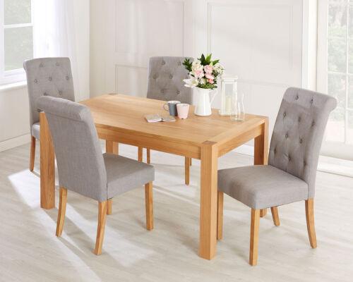 Romano Scroll Back Dining Chair in Grey Linen Oak Legs Button Back Upholstery 5055497725221