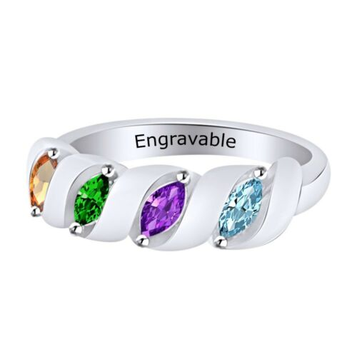 Personalized Engravable Multi-Gemstone Promise Band Ring  Silver