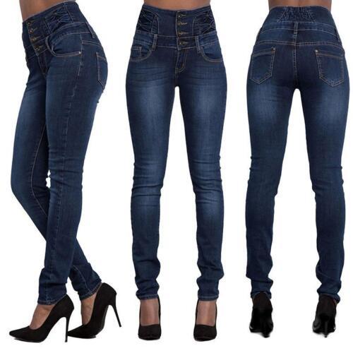 Damen Hohe Taillen Jeans Denim Hosen Elegant Stretch Pencil Denim Hose Pants JO