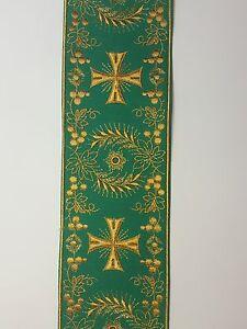 Vintage-Religioso-Cruz-Diseno-Oro-en-Verde-Banda-10-2cm-C126
