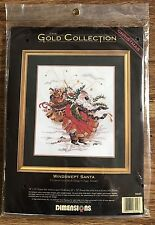 Windswept Santa Cross Stitch Kit Dimensions Gold Christmas Beads Metallic Thread