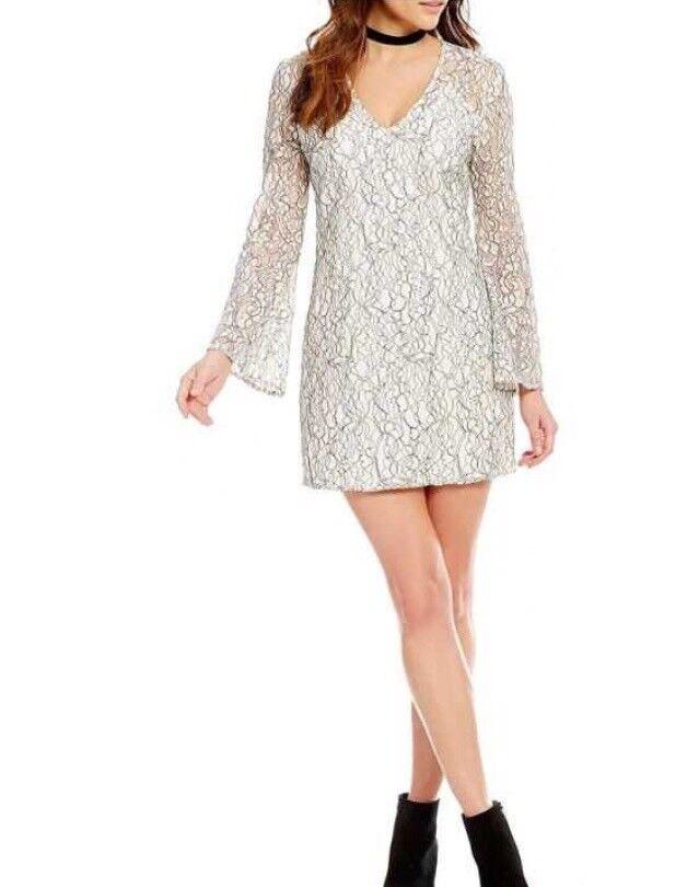 Nordstrom WAYF Guilty Pleasure Long Bell Sleeve Shift Lace Ivory Mini Dress