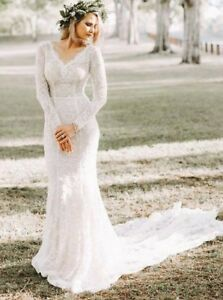 Details About Mermaid V Neck Long Sleeve Lace Wedding Dress Beach Bridal Gown Sheath Dresses