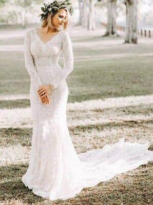 Boho V Neck Wedding Dress Long Sleeve Lace Sheath Beach Boho Mermaid Bridal Gown Ebay