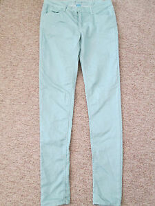 DENIM-amp-Co-GREEN-ZIP-FLY-SUPER-SKINNY-JEANS-SIZE-10-COTTON-POLYESTER-BLEND