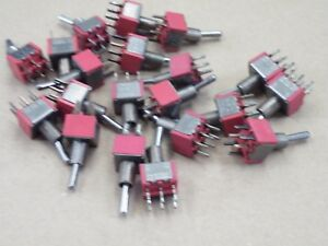20 Pcs Miniature Toggle Switch DPDT C&K 7201 Hobby Model Railway No Nuts CS19